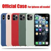 Custodia in Silicone originale ufficiale per iPhone 7 8 Plus X XS Max XR 6 6S 12 Pro con custodia logo per iPhone 11 Pro Max SE 2020 Cover