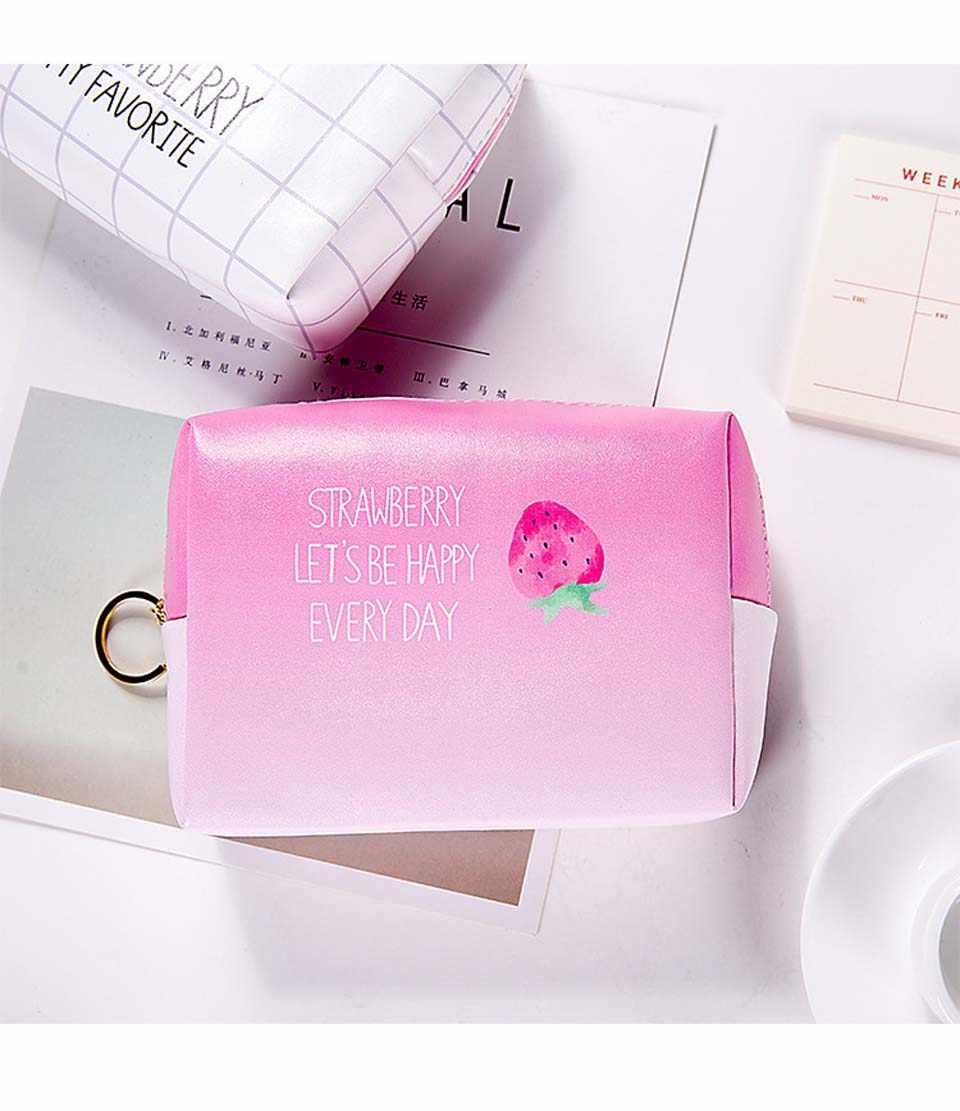 ピンクトラベルコスメティックバッグ女性かわいいイチゴ Pu レザー化粧ポーチストレージ主催女性を構成するためのポーチケース