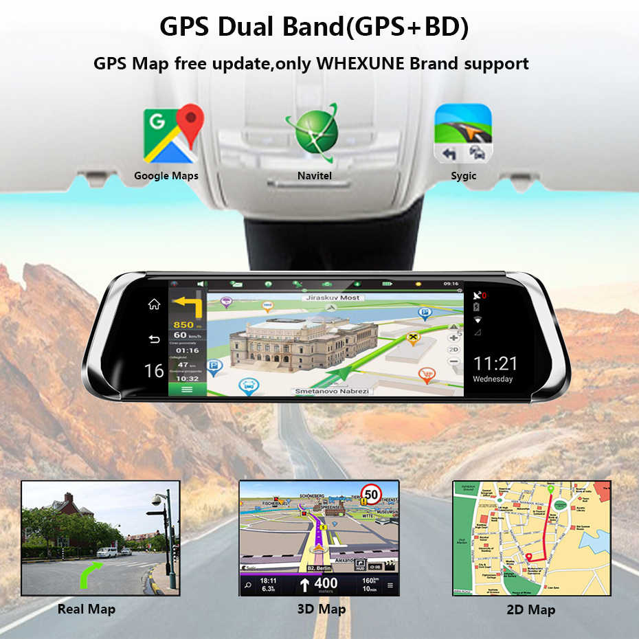 "QUIDUX 10 ""4G سيارة مرآة الرؤية الخلفية DVR أندرويد 5.1 واي فاي ADAS لتحديد المواقع FHD 1080P مسجل فيديو داش كام السيارات مسجل سيارة كاميرا"