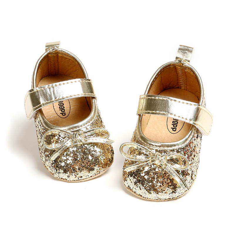 Cute Bow Baby Girls PU-Leather Shoes Shining Princess Shoes Prewalkers Infant Toddler Shoes Fashion Baby Moccasins First Walkers