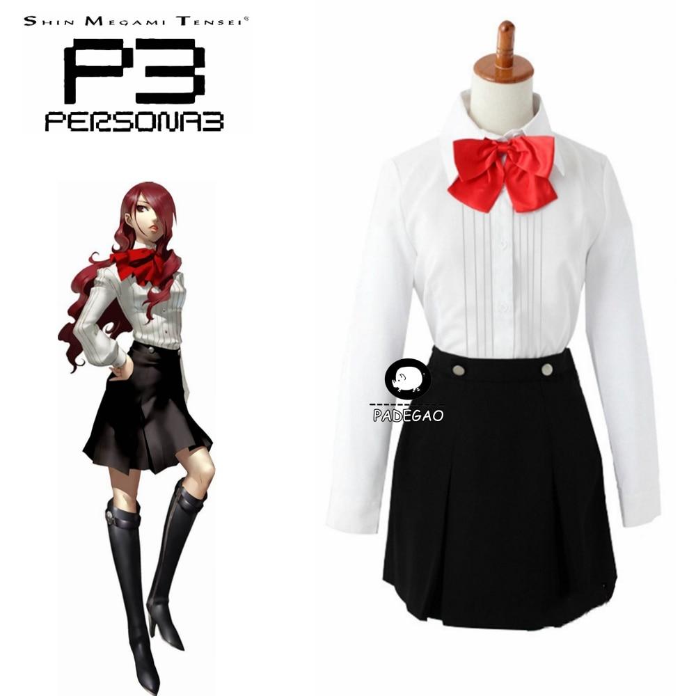 Shin Megami Tensei Persona 3 Mitsuru Kirijo Cosplay Costume Shirt+skirt Full Set Custom Made
