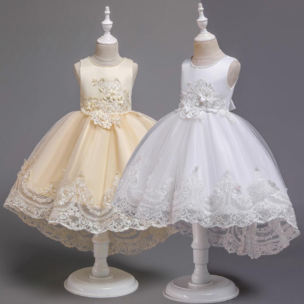 White Beaded Flower Girl Dress Princess Sleeveless Party Birthday Gown 6//8//10//12