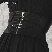 PUNK RAVE Girl's Gothic Faux Leather Buckle-up Underbust Corsets Belt for Women Harajuku Accessories