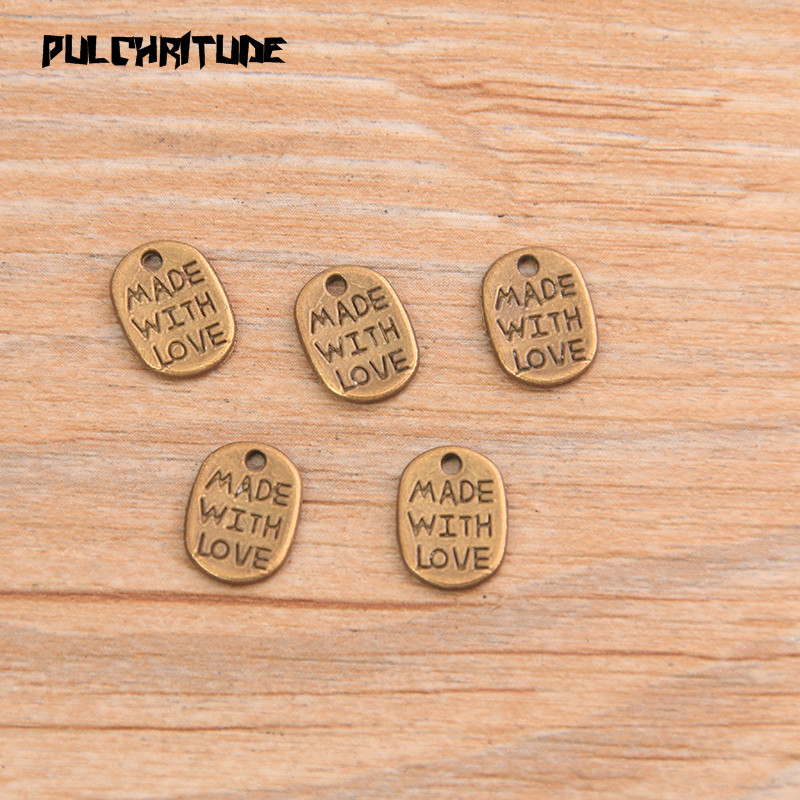 """PULCHRITUDE 60pcs 8*11mm Two Color Letter Charms """"MADE WITH LOVE """"Pendants Handmade  Vintage For DIY Jewelry Making Findings 3"""