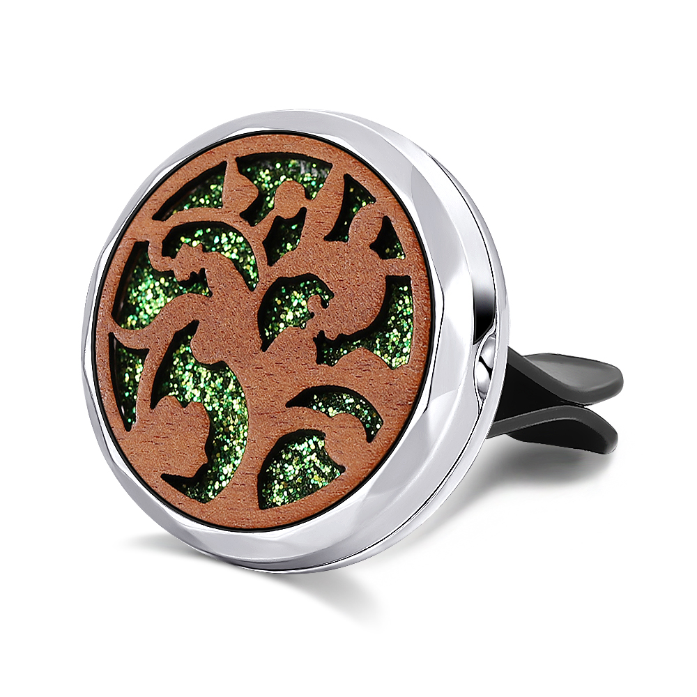Clip Perfume Essential-Oil Car-Air-Freshener Locket Natural-Wood C019 6-Styles
