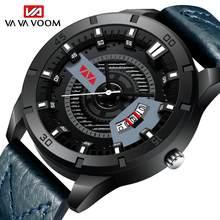 Azul couro esporte casual masculino relógios de pulso homem criatividade calendário relogios masculinos de luxo original relógio de pulso para homem