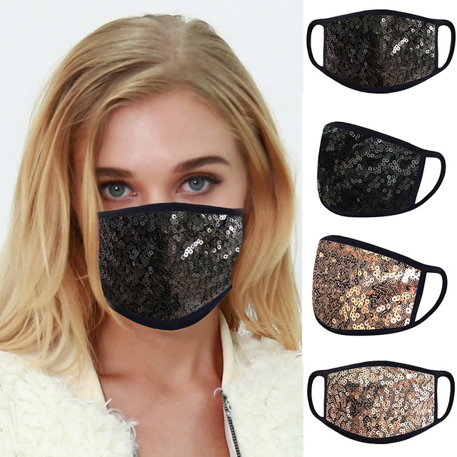 #H40 Fashion Sequin Face Mask Women Dustproof Windproof Face Mouth Mask Breathable Reusable Washable Cycling Mask 2