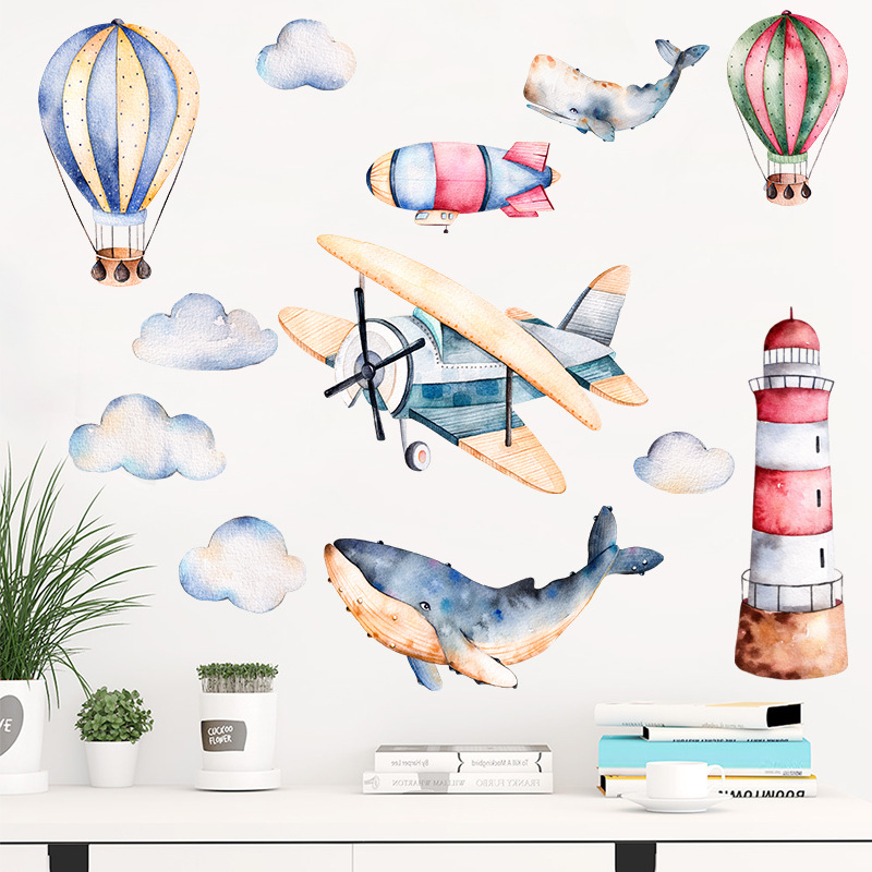 Watercolor Airplane Lighthouse Wall Sticker for Baby Kids Room Wall Decal Home Decor Wallpaper Nursery Hotel Cartoon Art Murals image