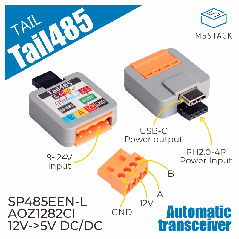 Official M5Stack ATOM  Tail485 Converting RS485 Signals To TTL RS485 Multipoint Communication
