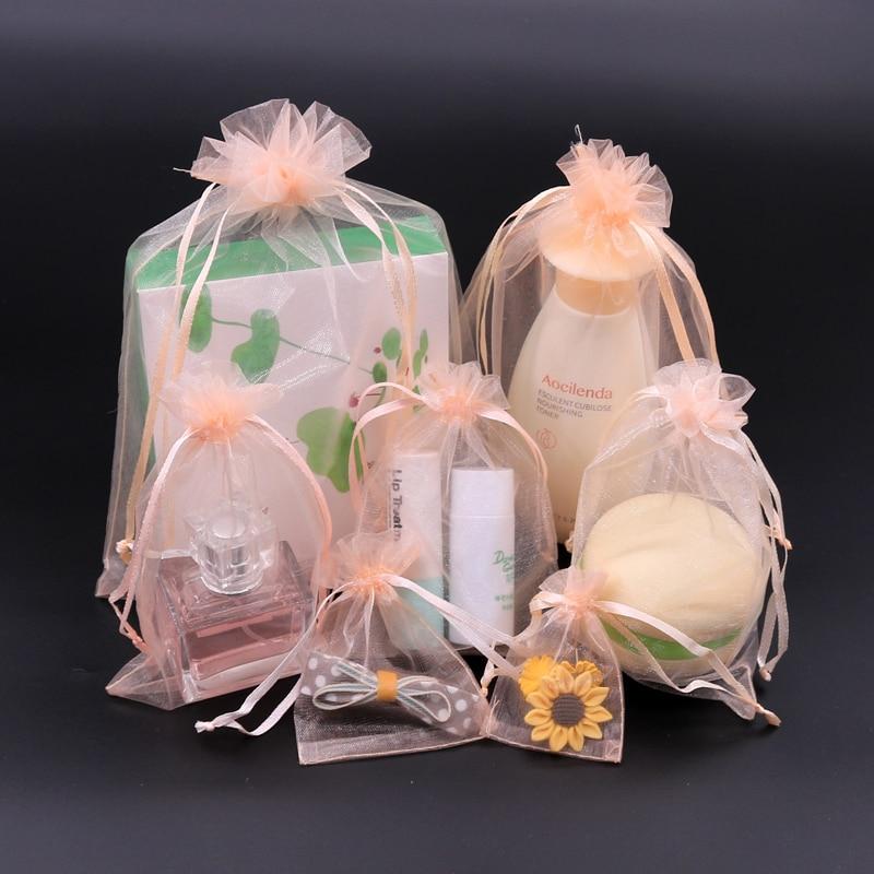 Tomkity 150 Sac Organza No/ël Pochette Sachet pour Cadeaux Bonbon Bijoux avec Ruban 7cm*9cm pour Mariage