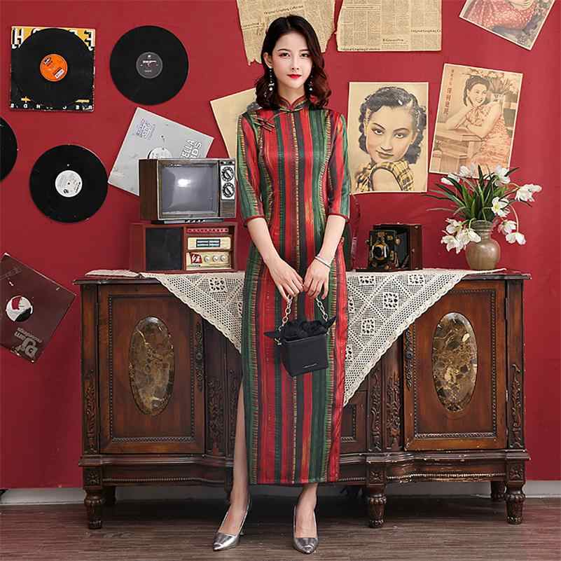 Vintage Mandarin Collar Qipao Women  Cheongsam Chinese Traditional Dress Lace Trim Print  Satin Dress  M-4XL