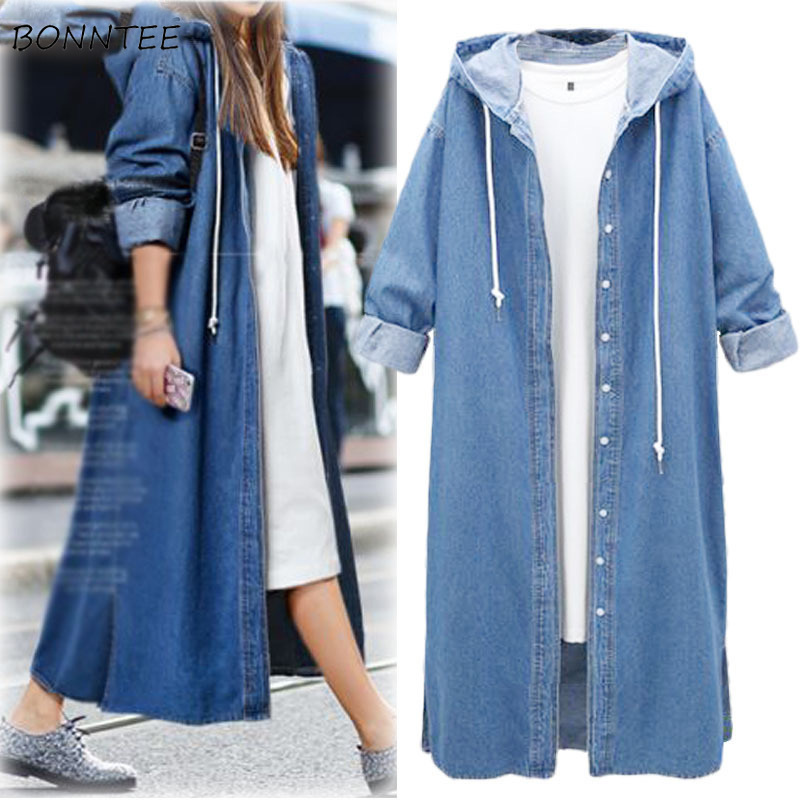 Trench Women Vintage Denim Oversize Hooded Plus Size Full Sleeve Single Breasted Solid Loose Womens Chic Simple All-match Trendy