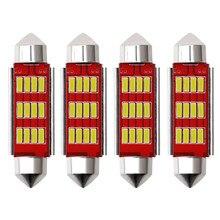 Lâmpada led canbus para interior automotivo, 4 peças, 31, 36, 39 e 41mm, 12smd, 4014, luz branca 12v