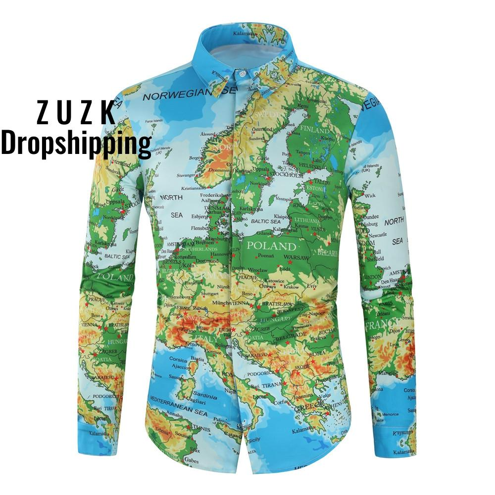 4  Colors New Personality Map Print Shirt Digital Print Men's Long Sleeve Chemise Homme Social Men Shirt Map Collection