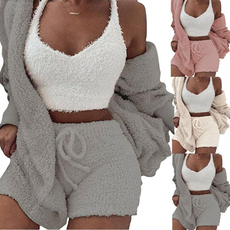 Fashion Women Fluffy Soft Pajama Sets Fleece Long Sleeve Cardigan Plush Hooded Coat + Shorts Set Sleepwear 2PCS Set No Camis