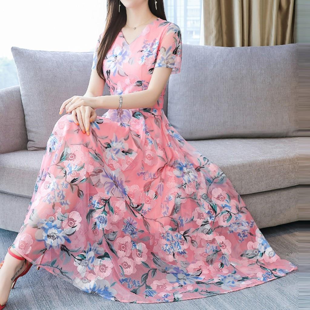 Chiffon Floral Dress Women Dress Plus Size Women Fashion Summer O-Neck Short Sleeve Printing Dresses Woman Party Night