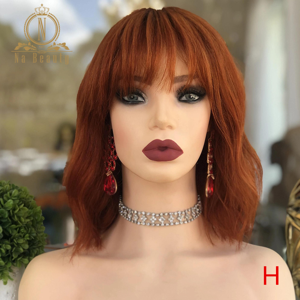 180 Density Ginger Orange Color 13x6 Lace Front Human Hair Wigs Natural Wave Pre Plucked Wig With Bangs For Black Women Nabeauty