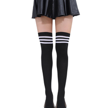 Cotton Socks Striped Long Socks Women Long Stockings Warm Thigh High Socks for Ladies Girls Japanese Sweets Striped Knee Socks