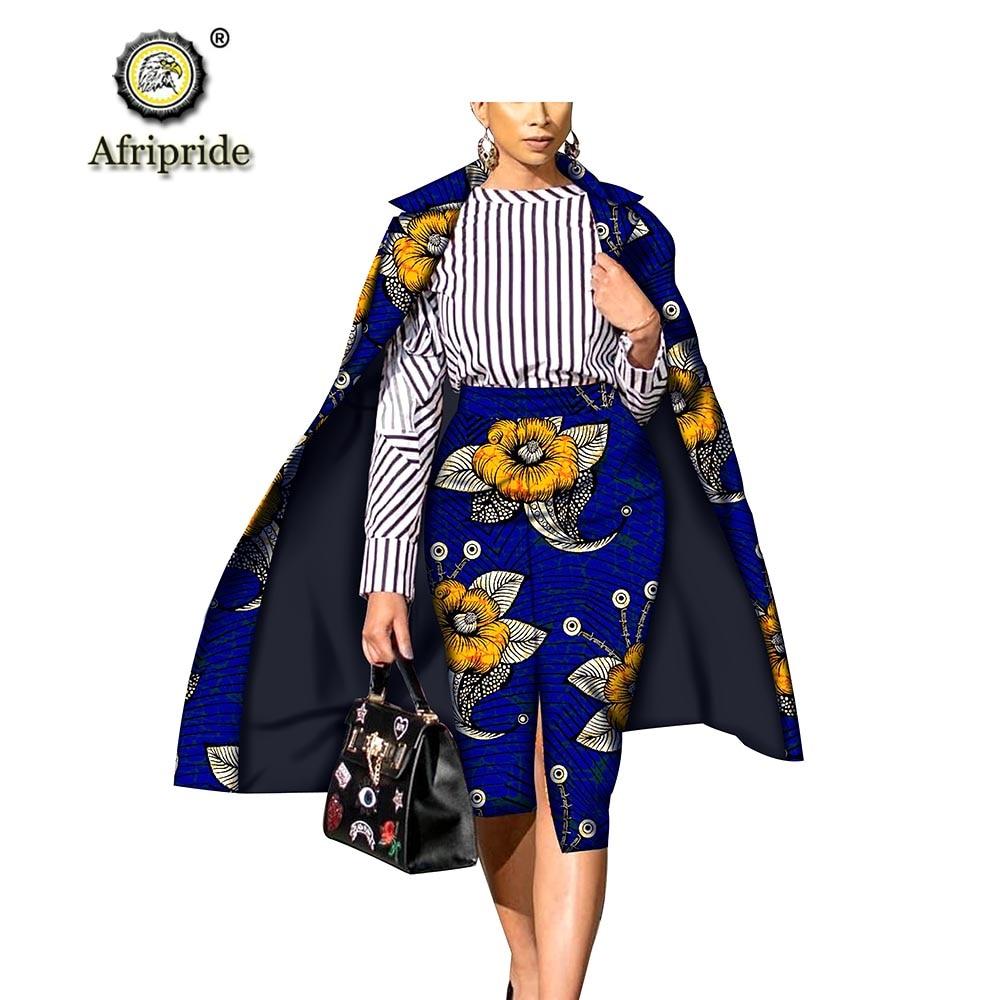 African 2-piece Suits For Women Long Coat+ankara Skirt Print Dashiki Robe Dashiki Set Plus Size Bazin Riche AFRIPRIDE S1826008