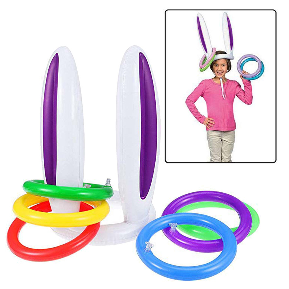 High Quality Inflatable Bunny Ears Ring Toss Games Party Game Toys For Kids Parents Christmas Indoor Play
