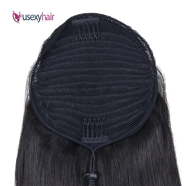USEXY прямые конский хвост 100% человеческие волосы на шнурке конский хвост с зажимами человеческие волосы для наращивания для женщин бразильс...