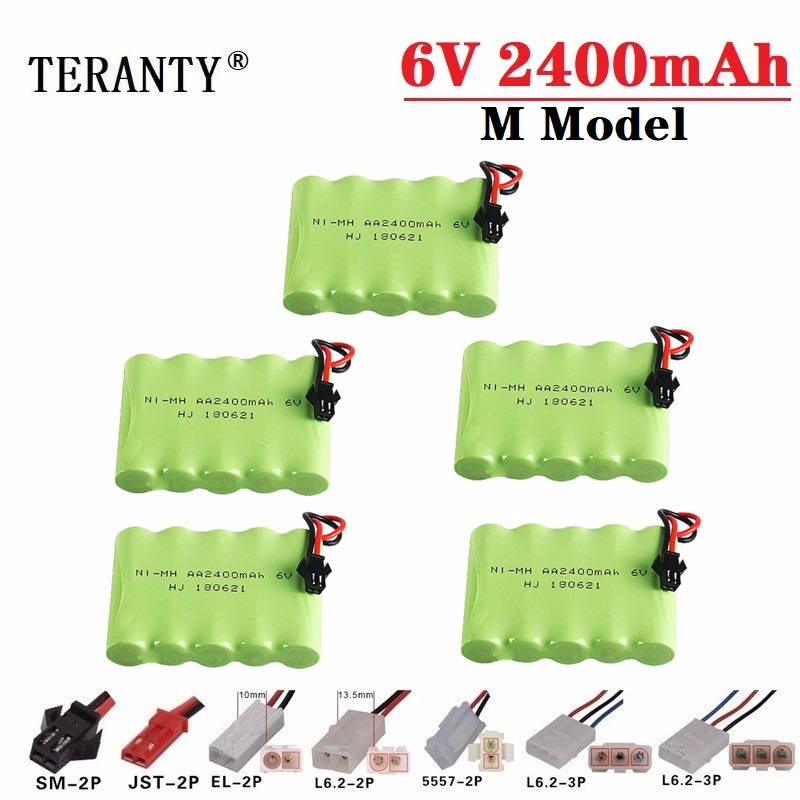 (M Model ) 6v 2400mah NiMH Battery For Rc toys Cars Tanks Robots Boats RC Trucks Guns 6v Rechargeable Battery AA Battery Pack image