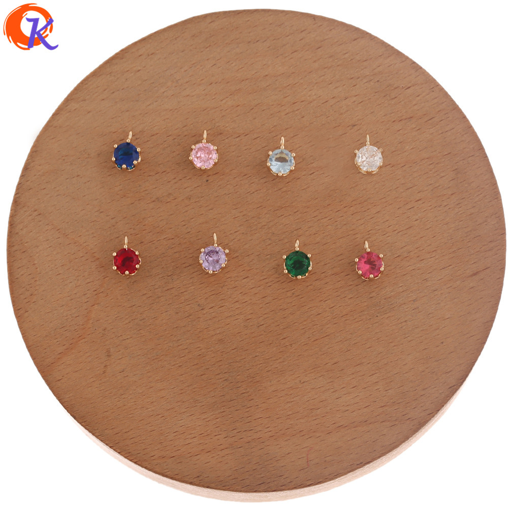 Cordial Design 100Pcs 6*8MM Jewelry Accessories/Earring Findings/CZ Connectors/Round Shape/DIY Charms/Hand Made/Jewelry Making