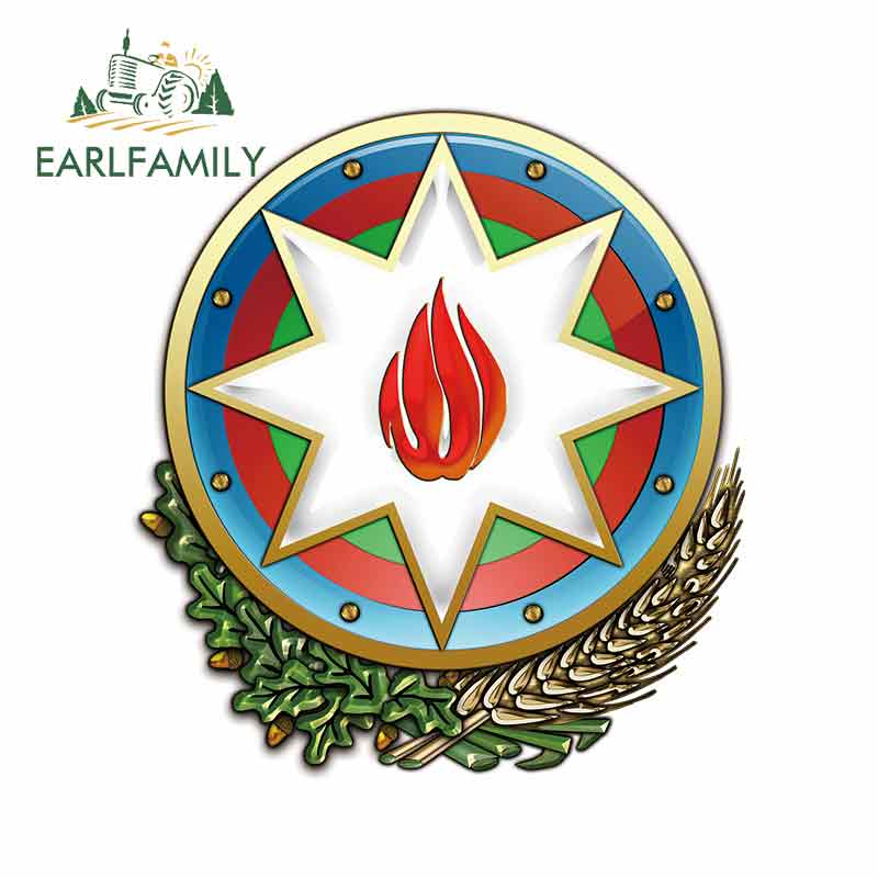 EARLFAMILY 13cm X 11.7cm For Azerbaijan Coat Of Arms Heraldry DIY Motorcycle Car Stickers Waterproof Decal Windows Decoration