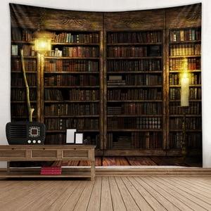 Image 3 - Magic Retro Bookshelf Tapestry Art Wall Hanging Tapestries Bedspread Throw Home Decor