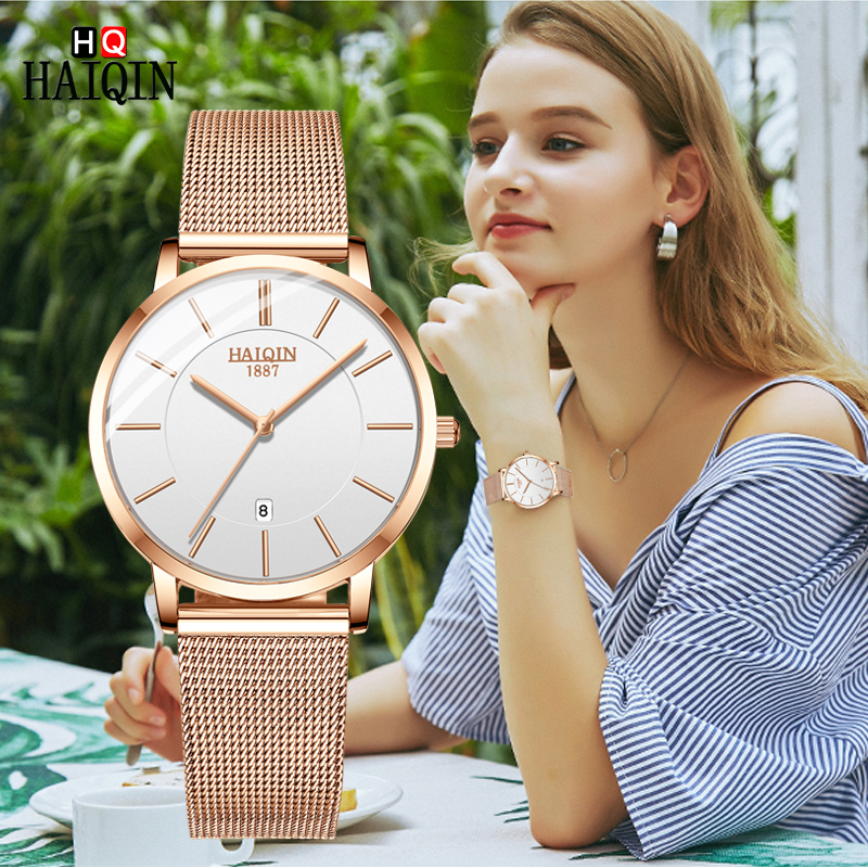 HAIQIN Women's Watches Gold Fashion Brand 2019 Top Luxury Quartz Watch Couple Watches Sports Fitness Lady Clock Zegarek Damski
