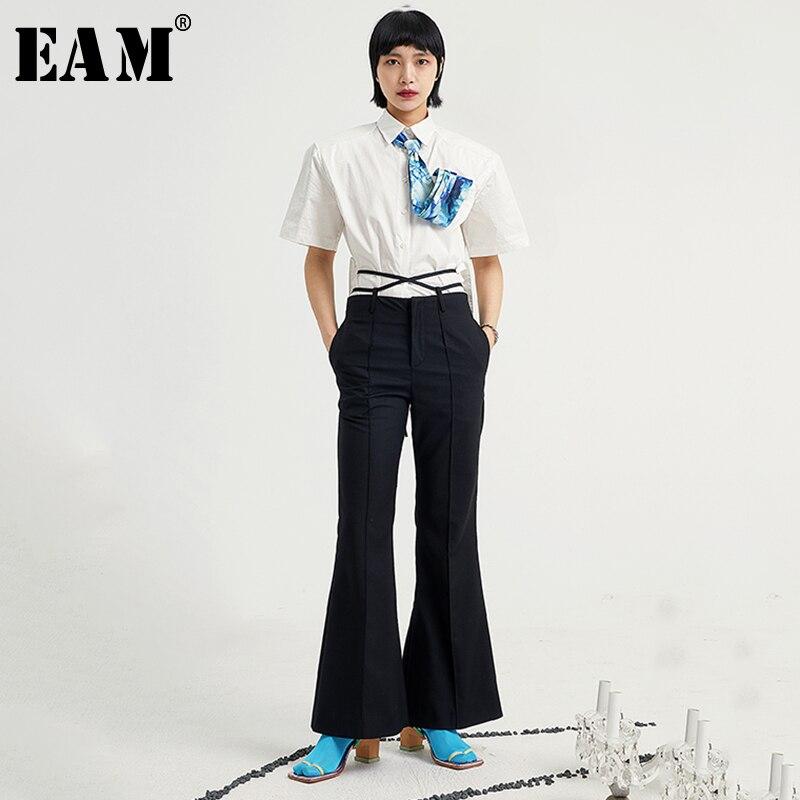 Eam Pantalones Largos De Cintura Alta Para Mujer Pantalon De Corte Holgado Color Negro A La Moda Para Primavera Y Verano 2021 1u600 Deshevyj Magazin Sexresort