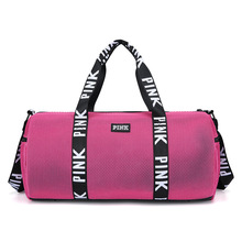 2019 New Arrival PINK Travel Bag Large Capacity Net Material Mesh Sports gym Bag Waterproof Wear resistant Yoga Luggage bags
