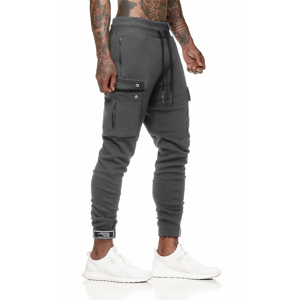 Casual Joggers Pants Mens Sporty Cotton Sweatpants Fitness Workout Trousers Autumn New Male Sportswear Multi-pocket Track Pants