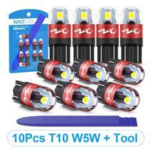 NAO T10 LED 10 sztuk W5W żarówka LED 3030 światła samochodowe 5W5 włącz sygnał Auto światła obrysowe 12V oświetlenie tablicy rejestracyjnej Trunk lampa kopułkowa narzędzie