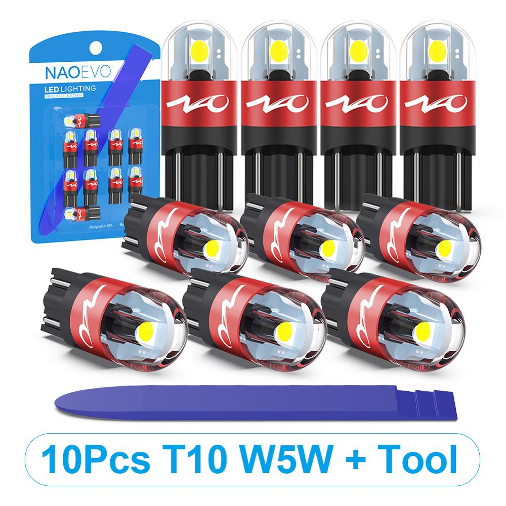 NAO T10 LED 10 stücke W5W Led-lampe 3030 Auto Licht 5W5 Blinker Auto-Clearance Lichter 12V Lizenz platte Licht Stamm Dome Lampe Werkzeug