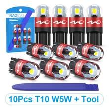 NAO T10 светодиодный 10 шт. W5W светодиодный светильник 3030 автомобильный светильник 5W5 указатель поворота Автомобильные Габаритные фонари свети...