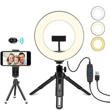 8inch/10inch Photography LED Selfie Ring Light Dimmable Camera Phone Ring Lamp with 2 Tripods For Makeup Video Live Photo Studio