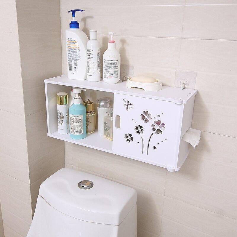 Prateleira da parede do banheiro banheiro rack de armazenamento banheiro à prova dwaterproof água rolo papel lavagem lo523259 Prateleiras do banheiro     - title=