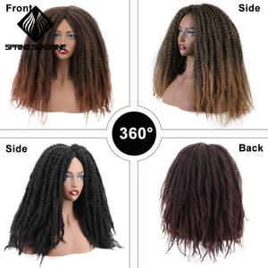 Image 4 - 18Inch Synthetische Afro Kinky Straight Pruiken Natuurlijke Zwart Marley Vlechten Pruik Voor Vrouwen