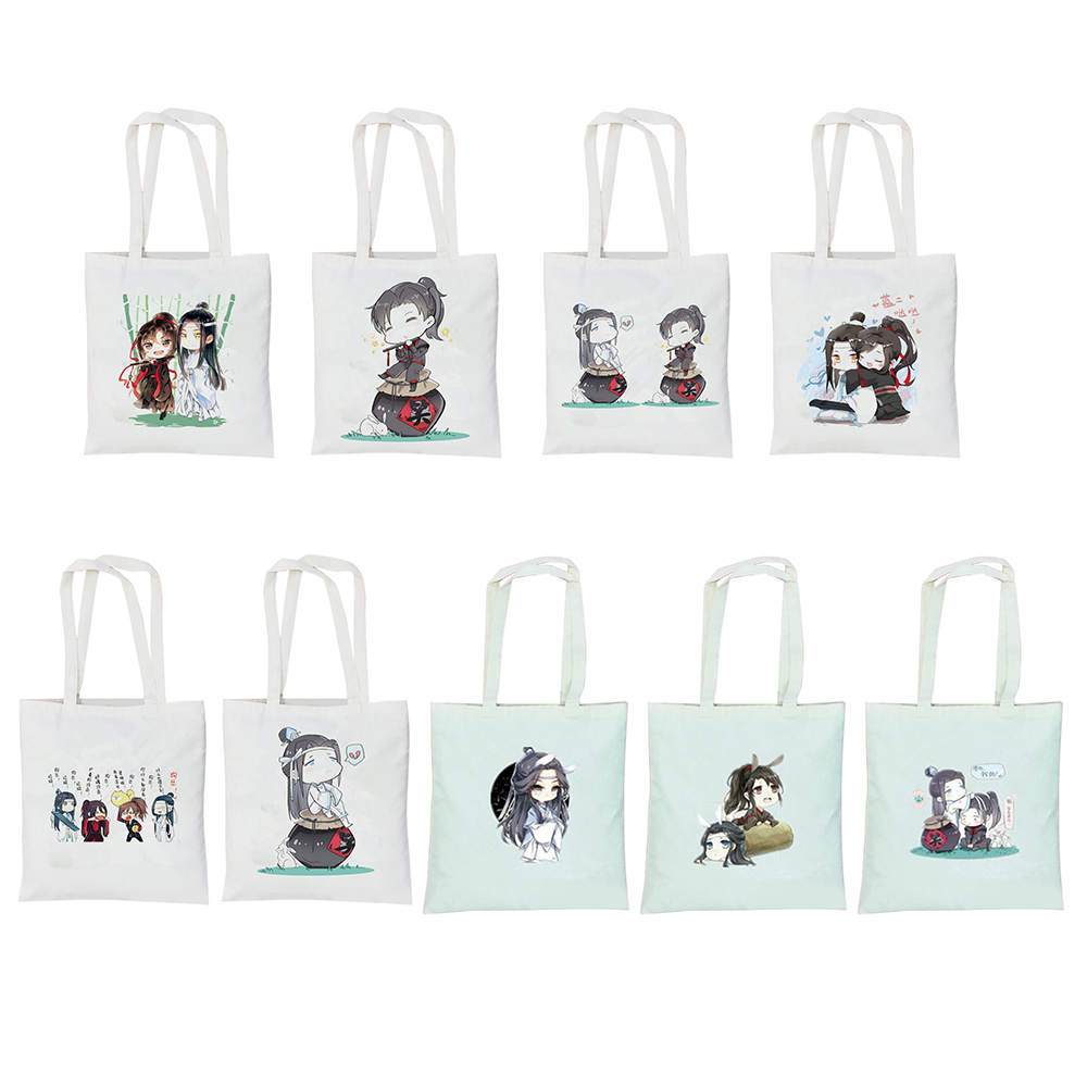 Mo Dao Zu Shi Reusable Cotton Handbags Portable Grocery Shopping Bag Girls Shopping Bags Large Capacity Canvas School Bags New