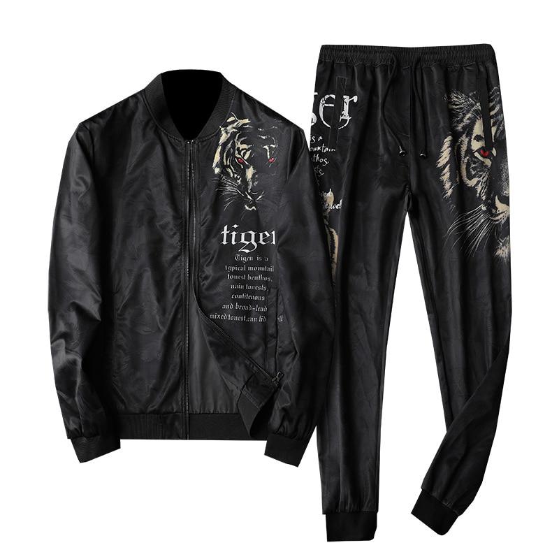 Brand Tiger Head Print Jacket And Pant Ropa Deportiva Hombre Para Correr Plus 5xl Jogginganzug Herren 2 Piece Korean Menswear