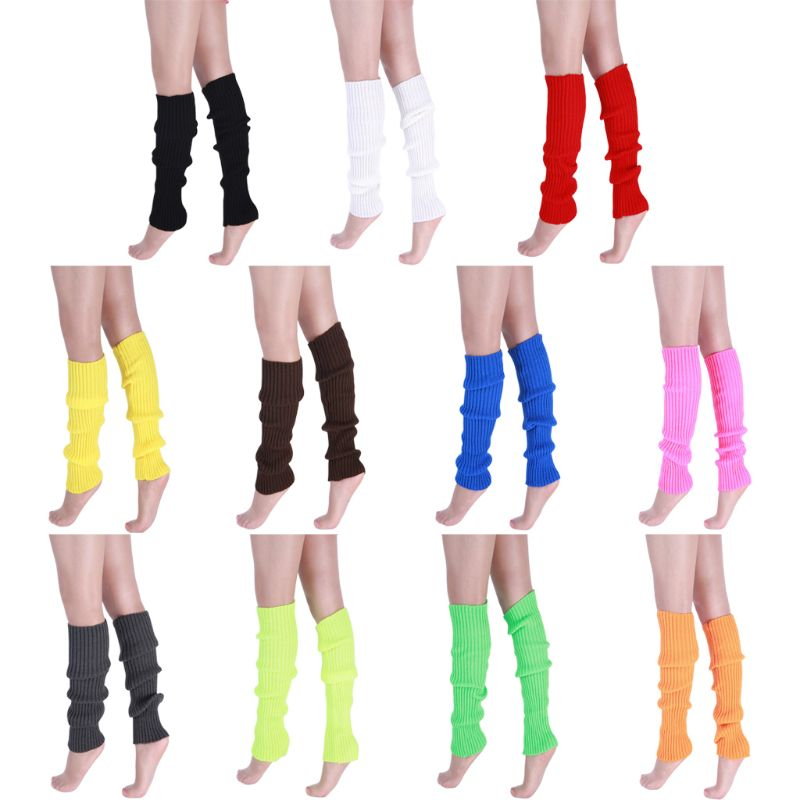 Women 80s Neon Fluorescent Ribbed Knit Crochet Leg Warmers Bright Solid Color Dance Yoga Long Footless Socks Party Accessories