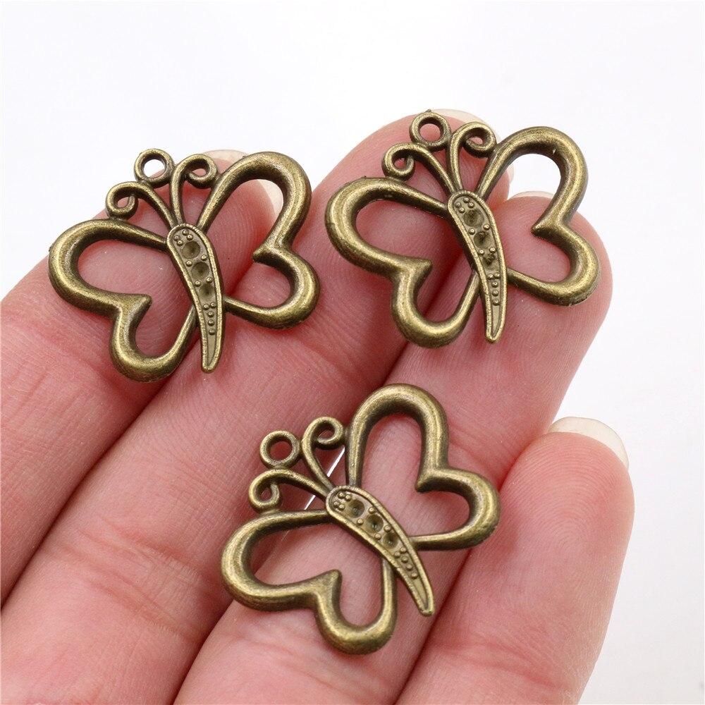 25x22mm 15pcs Antique Bronze Plated Butterfly Handmade Charms Pendant:DIY for bracelet necklace-Q7-18
