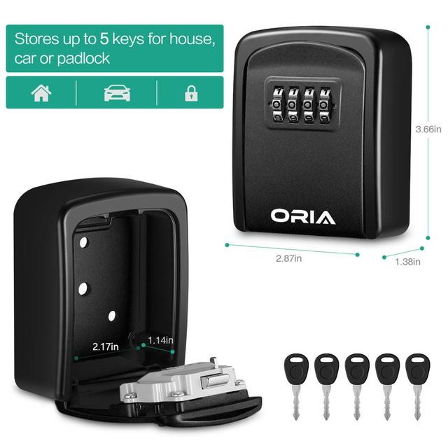 ORIA Password Key Box Decoration Key Code Box Key Storage Lock Box Wall Mounted Password Box Outdoor Key Safe Lock Box 2