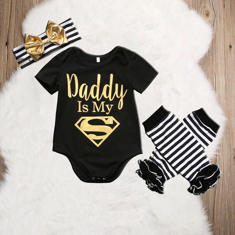 Baby Girls Boy Daddy Is My Superman Newborn Toddler Top Letter Romper+Striped Leg Warmer+ Headband Outfit 3Pcs Sets Clothing