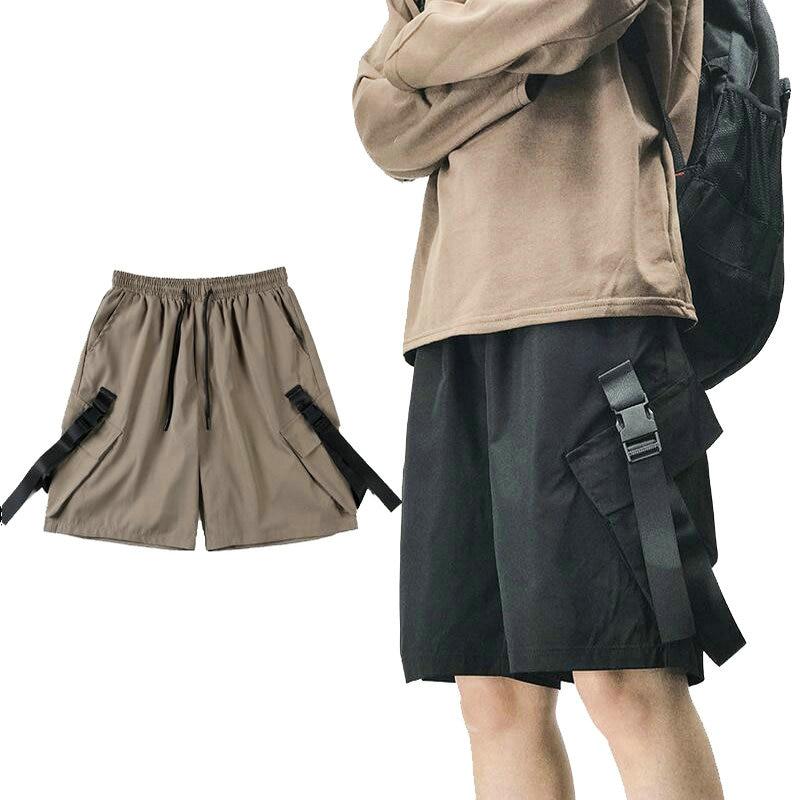 Men's Cargo Shorts Streetwear Hip Hop Jogging Men Casual Shorts Multi Pockets Baggy Ribbons Design Male Summer Shorts Homme