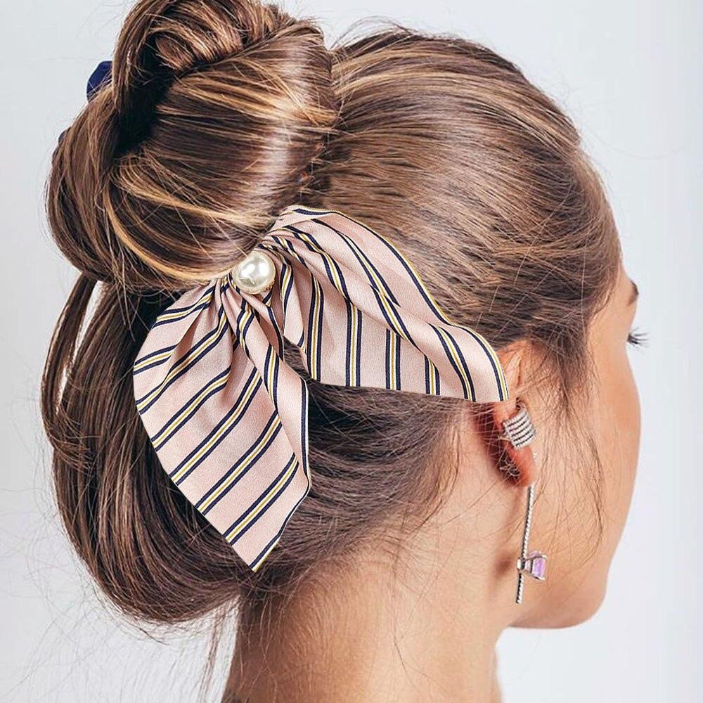 2019 New Fashion Chiffon Silk Sweet Bow Hair Scrunchies Women Hair Tie Hair Rope Rubber Bands Ponytail Holder Hair Accessories