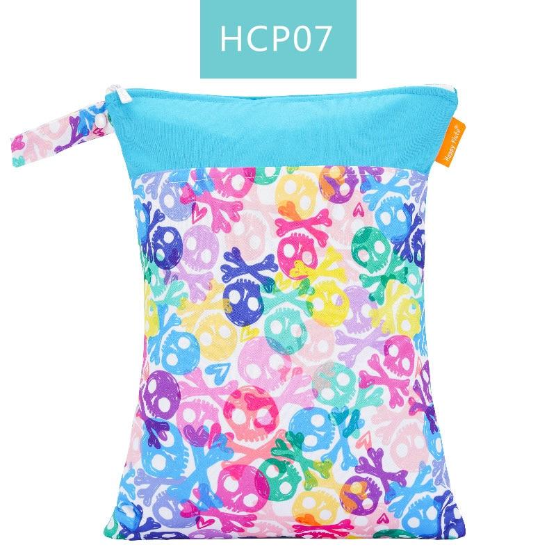 Happy Flute 1 шт. Многоразовые водонепроницаемые модные принты влажная сухая сумка для подгузников двойной карман тканевая Ручка сумки для мокрого плавания 30*40 см - Цвет: ES001HC07