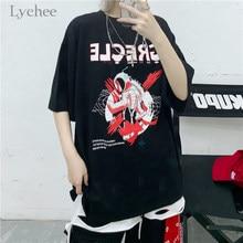 Футболка Lychee в стиле Харадзюку, простая рубашка в Корейском стиле с забавным граффити, с принтом астронавта, Женский Топ с коротким рукавом, ...