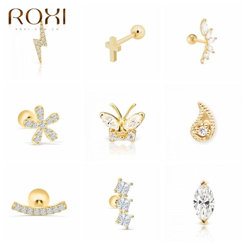 ROXI Flower Lightning Butterfly Cross Symbol Crown Eye Stud Earrings for Women Piercing Earrings Silver 925 Jewelry Pendientes